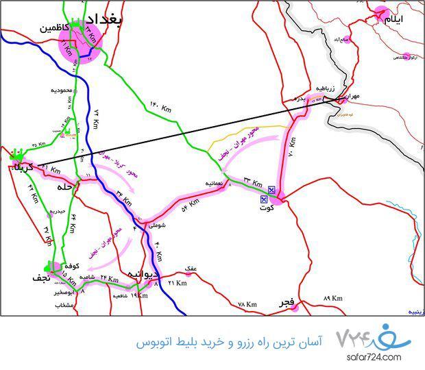 نقشه مهران تا کربلا